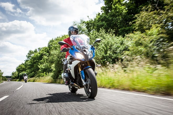 Bike Social's Paul Taylor is hounded by a Triumph Daytona 675. The BMW is classed as a sports tourer, and it can do sport well. Maybe not well enough to stay with a well-ridden 675 though.