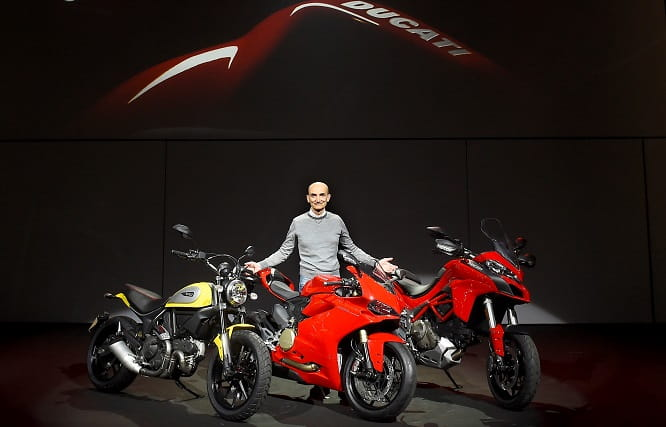 Ducati CEO Claudio Domenicali with Scrambler, Panigale and Multistrada