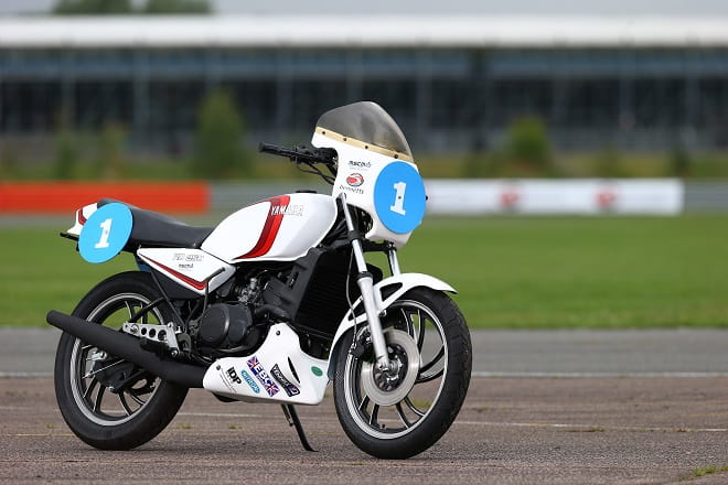 The first fully restored RD250 LC ProAm revival bike waits for its first laps.