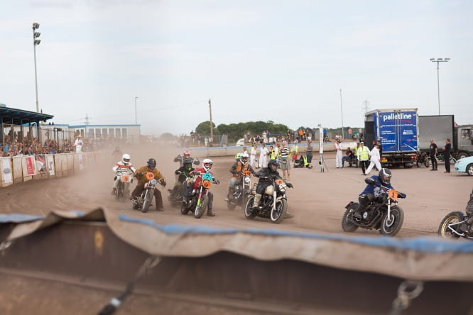 Competitors in the Chopper Final pile into the first corner