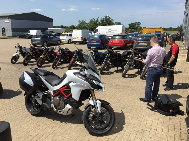 Multistrada is used as a high-speed express to do jobs for Bike Social around the UK. Here it takes in the Yamaha RD250LCs soon to be rebuilt and raced in the Pro-Am Revival at the British MotoGP.