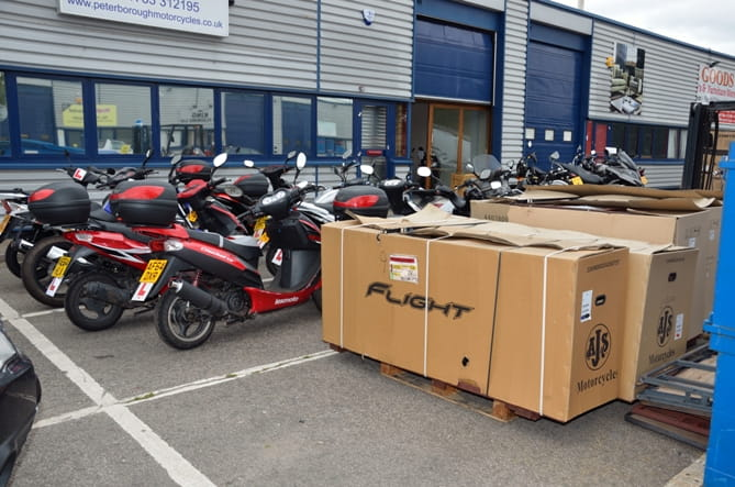 Peterborough Motorcycles take delivery of more stock from the Far East