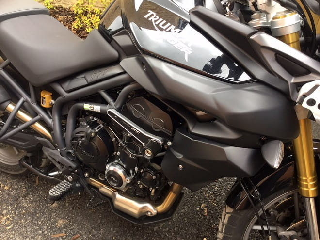 Rizoma's crash protection for the Triumph Tiger 800 enhances the looks of the adventure bike.