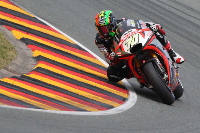 Laverty rode the Aprilia at the Sachsenring