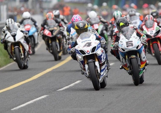 Guy Martin leads from Bruce Anstey in 2014. Photo credit: Stephen Davison
