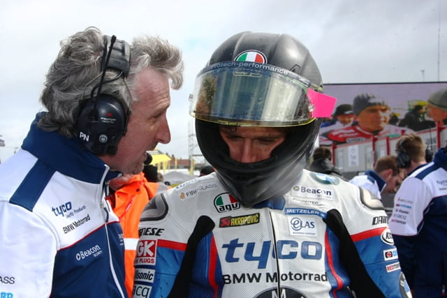 Tyco BMW team manager Philip Neill with Guy Martin