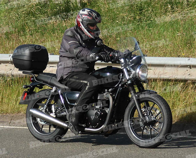 Entry-level, water-cooled Triumph Bonneville spied testing last month