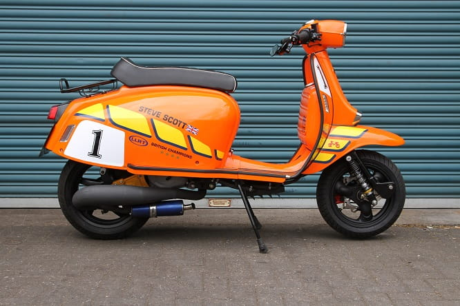Scooterists love to tinker; this Scomadi 50 now sports a liquid-cooled 172cc two-stroke engine and is capable of close to 100mph.