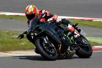 Bike Social's Marc Potter rides the H2 at Silverstone