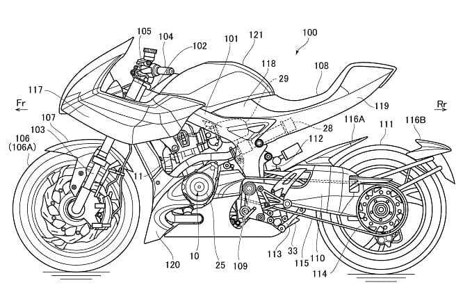 Suzuki's patent for the Recursion, a 588cc parallel twin with exhaust-driven turbocharger