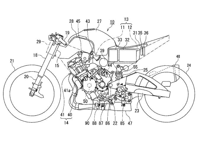 Suzuki's patented design of a four-cylinder and electric motor powered superbike
