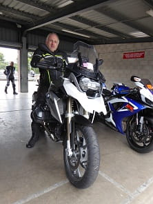 "63 year old Ian Lanch has been riding for less than a year. He stepped from a Honda NC750 to this R1200GS so he could keep up with his girlfriend who has been riding for many years. This was his first track day. ""I was expecting it to be much more intimidating,"" he said."