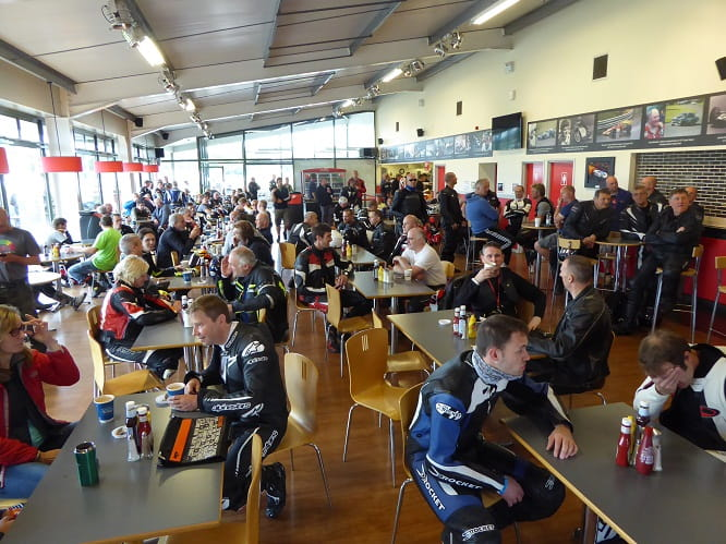 All ages await the safety briefing in the Oulton Park circuit restaurant.