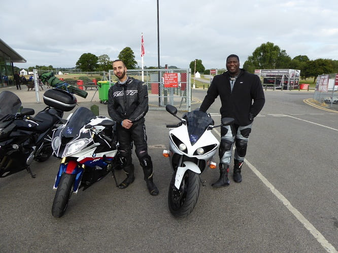 "Sam (on the left) and Bobble cam across from Liverpool, Sam on his BMWS1000RR and Bobble on his cross plane R1. It was their first time on track. ""Bikes are like a second heartbeat for me,"" Bobble said. Amen to that."