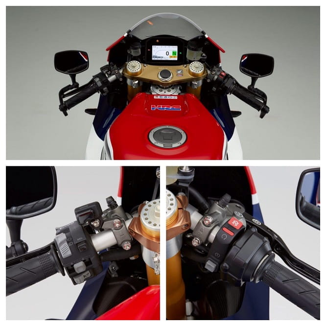 Full colour TFT clocks, beatifully engineered top yokes, and mirrors on stalks. The RCV might have standard Honda switchgear, but that's about the only thing on it that is standard.