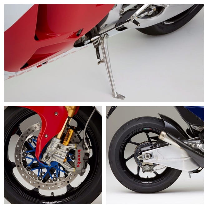 Brakes, swingarm and Ohlins TTX forks are straight out of MotoGP. Wheels are 17-inch instead of MotoGP spec 16.5-inch rims and use Bridgestone R10 tyres.
