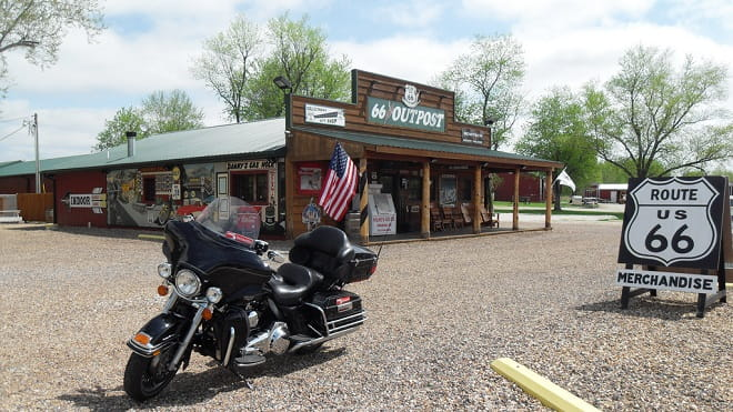 Route 66, a Harley-Davidson Electra-Glide. Could it be any more American?