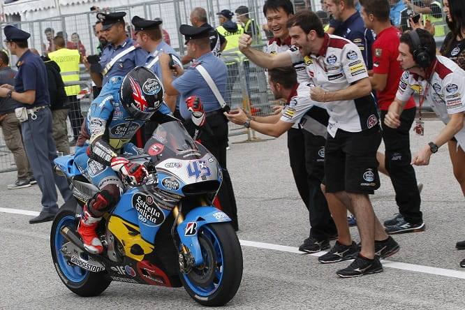 Redding rolls into pit lane to take the accolades from his Marc VDS team
