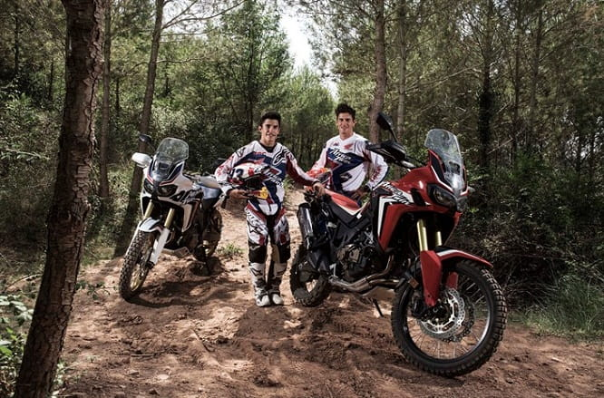 Marquez and Barreda with a pair of Africa Twin's