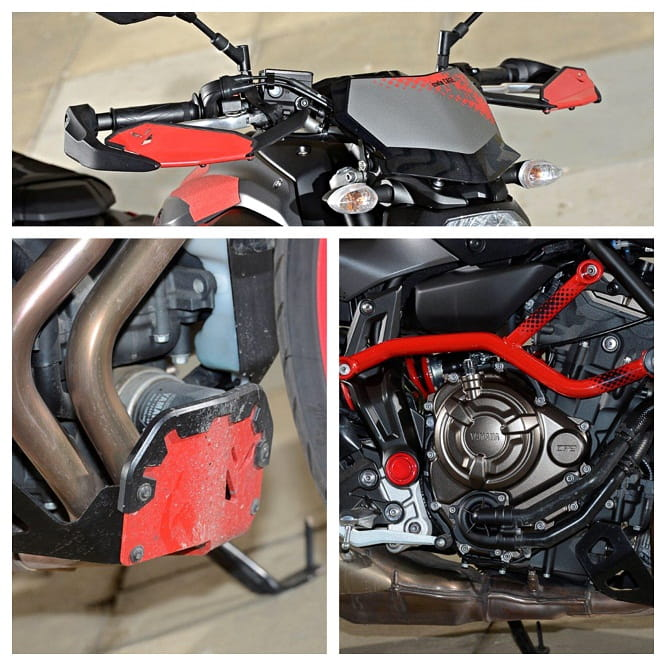 Hand guards, exhaust guard and added red tubular cage are all extra detailing over the standard model