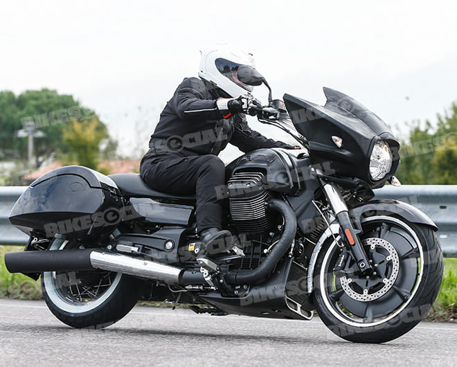 Spotted testing in Italy, this is the near-production ready version of Moto Guzzi's new baggger