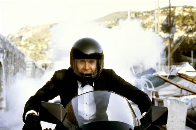 Sean Connery as Bond rides a mildly disguised Yamaha XJ650