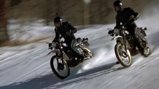 Roger Moore rides a Yamaha XT500 in For Your Eyes Only