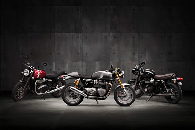 (l-r) Street Twin, Thruxton R and T120 Black. Three new Bonnevilles from Triumph