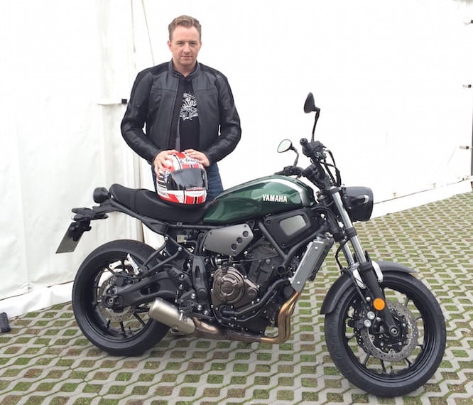 Mann with the XSR700. He could look a little happier about it.