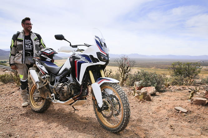 Africa Twin and a happy Marc Potter. He's already thinking about his next off-road mission.