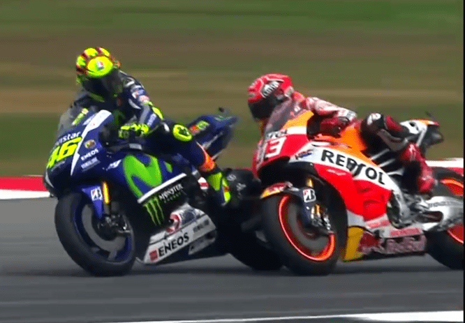Rossi went wide in Sepang causing the pair to come together