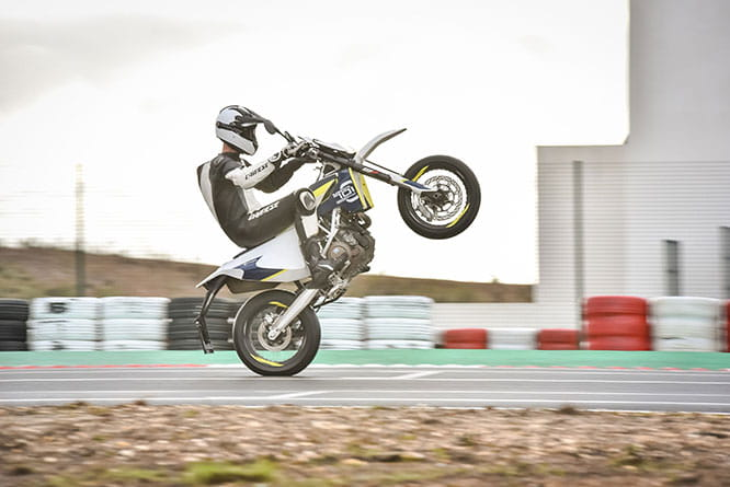 Road Tester Roland Brown gets the Sporty Single Supermoto's front up