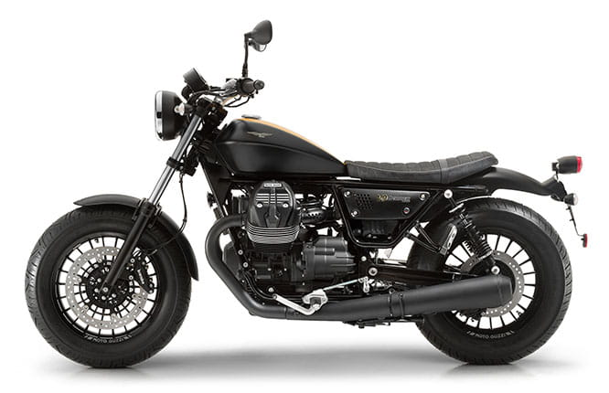16-inch front and rear tyres are a feature on the V9 Bobber