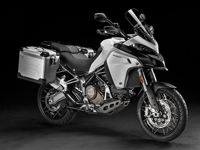 Multistrada 1200 Enduro shown with panniers which are available as accessories