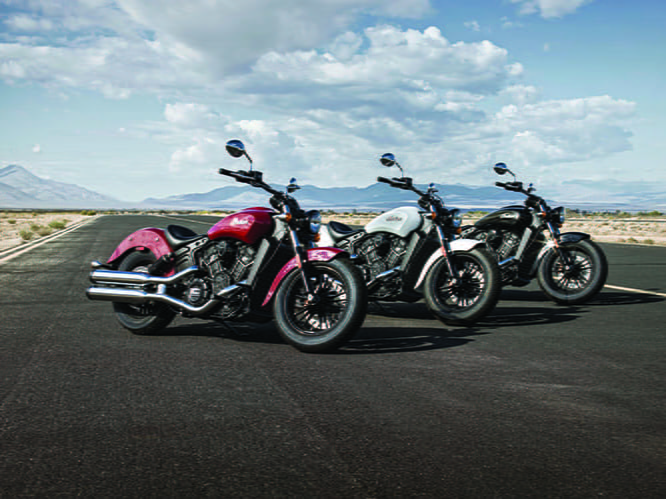 Three colours available for the Indian Scout Sixty
