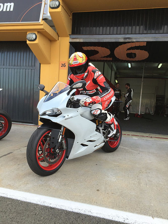 Bike Social's Marc Potter heads out onto the Valencia GP track for his first session on the 959 Panigale