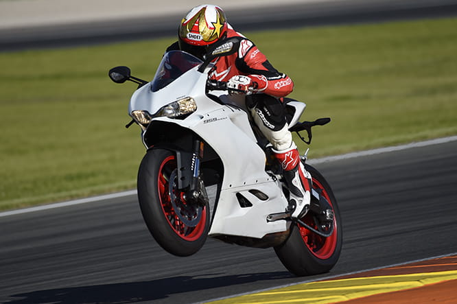 Traction turned down, Race mode engaged, the 959 Panigale may not be ultimately as fast as the 1299, but it still hauls.
