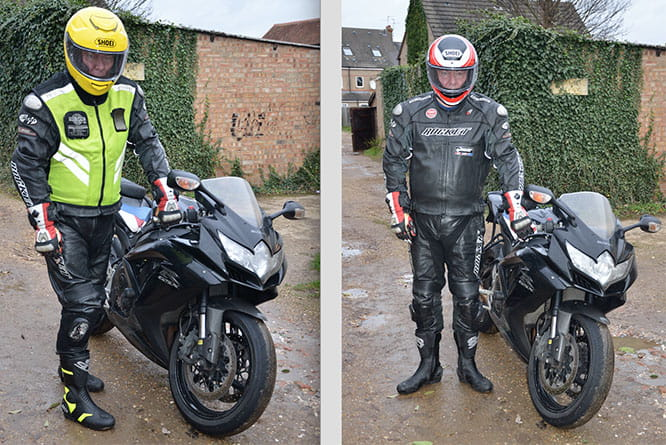 Motorcycle Journalist, Jim Lindsay, in the safety gear he used to wear (r) and what he now wears (l)