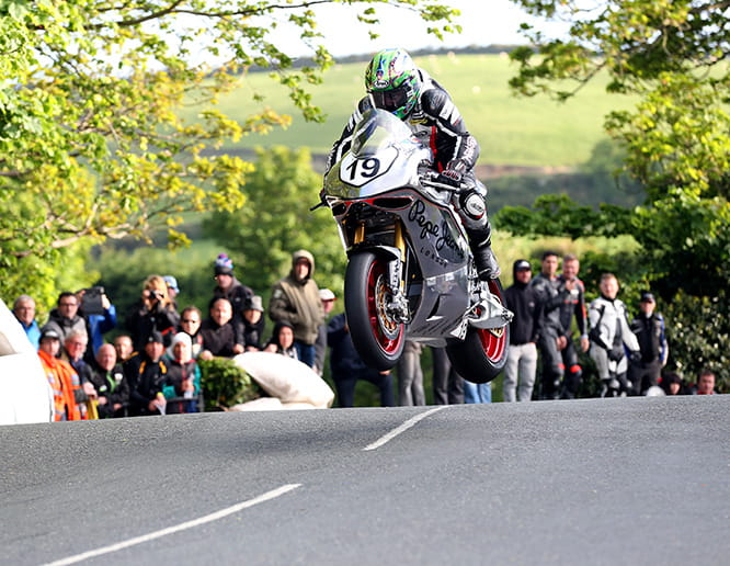 Cameron Donald flies over Ballaugh Bridge on the SG4 in 2015
