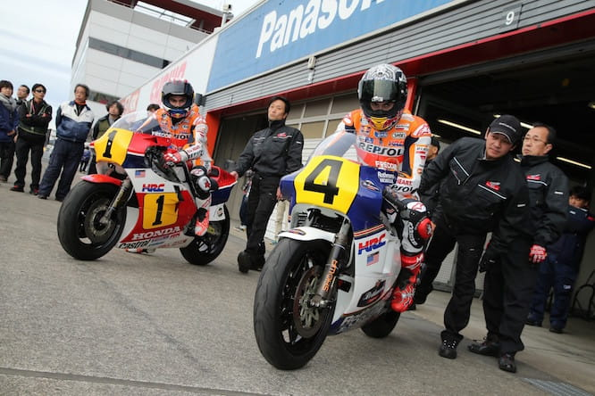 Marquez and Pedrosa aboard 500cc two strokes