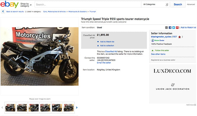 '99 Speed Triple for less than £1900. Happy Christmas