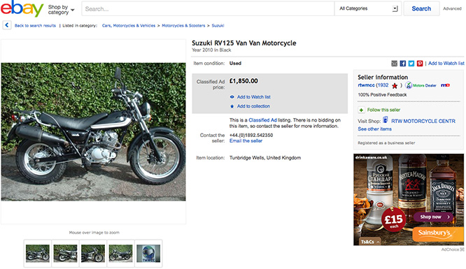 Too cool for school? Not at £1850 the VanVan's not