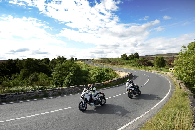 One of Yorkshire's finest roads. Multistrada leads BMW S1000XR. A perfect moment.