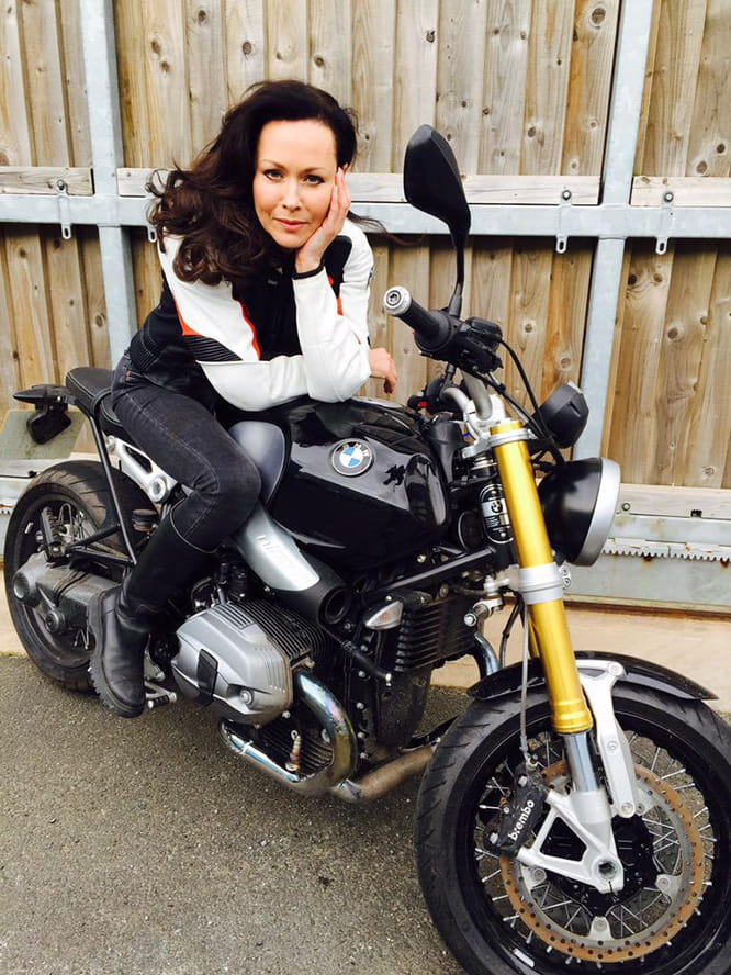 Actress Amanda Mealing, aka Connie Beachamp from BBC1's Casualty, with her BMW R nineT