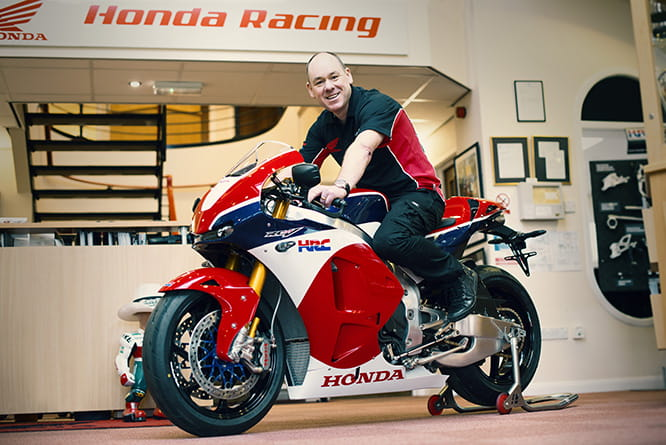 John Brown on his Honda RC213V-S, the world's first