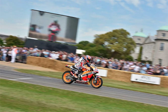 Casey Stoner on a MotoGP in the grounds of Goodwood House...not an every day occurance