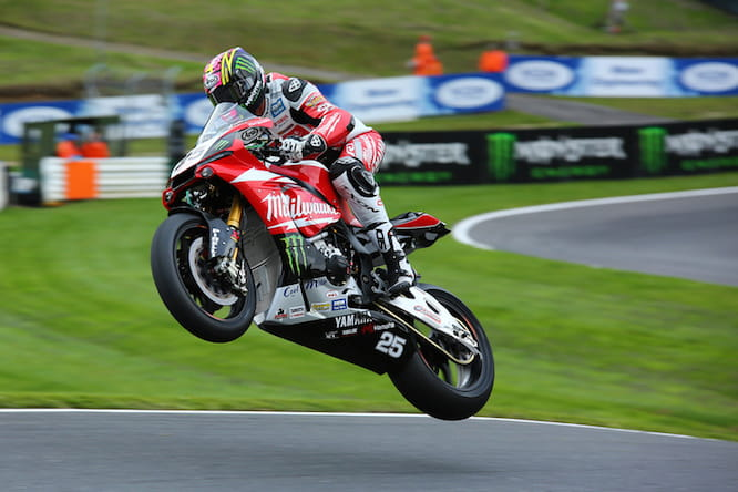 Josh Brookes flies over the Mountain at Cadwell Park