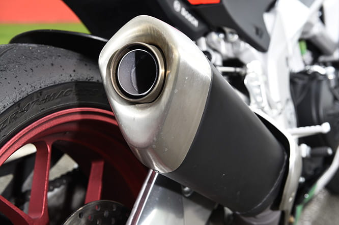 Standard can on a V4 Aprilia emits a beautiful sound
