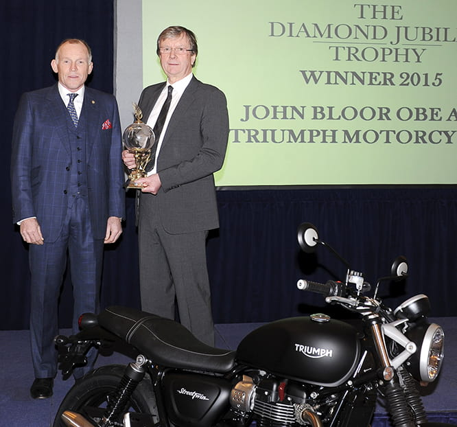 (L-R) Ben Cussons from The RAC and John Bloor, Owner of Triumph Motorcycles