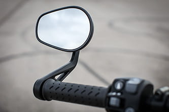 Teardrop style, bar-end mirrors are easy to adjust and offer a very good view